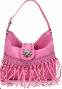 Pink fringe purse with flap