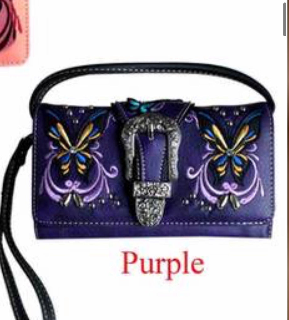 Purple butterfly buckle wallet with crossbody strap