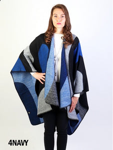 Navy circular patterned cape
