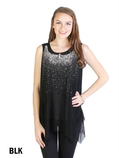 Black sparkle top with star design