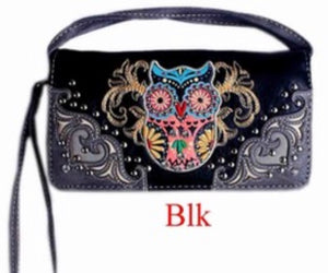 Black owl wallet with wristlet and crossbody strap