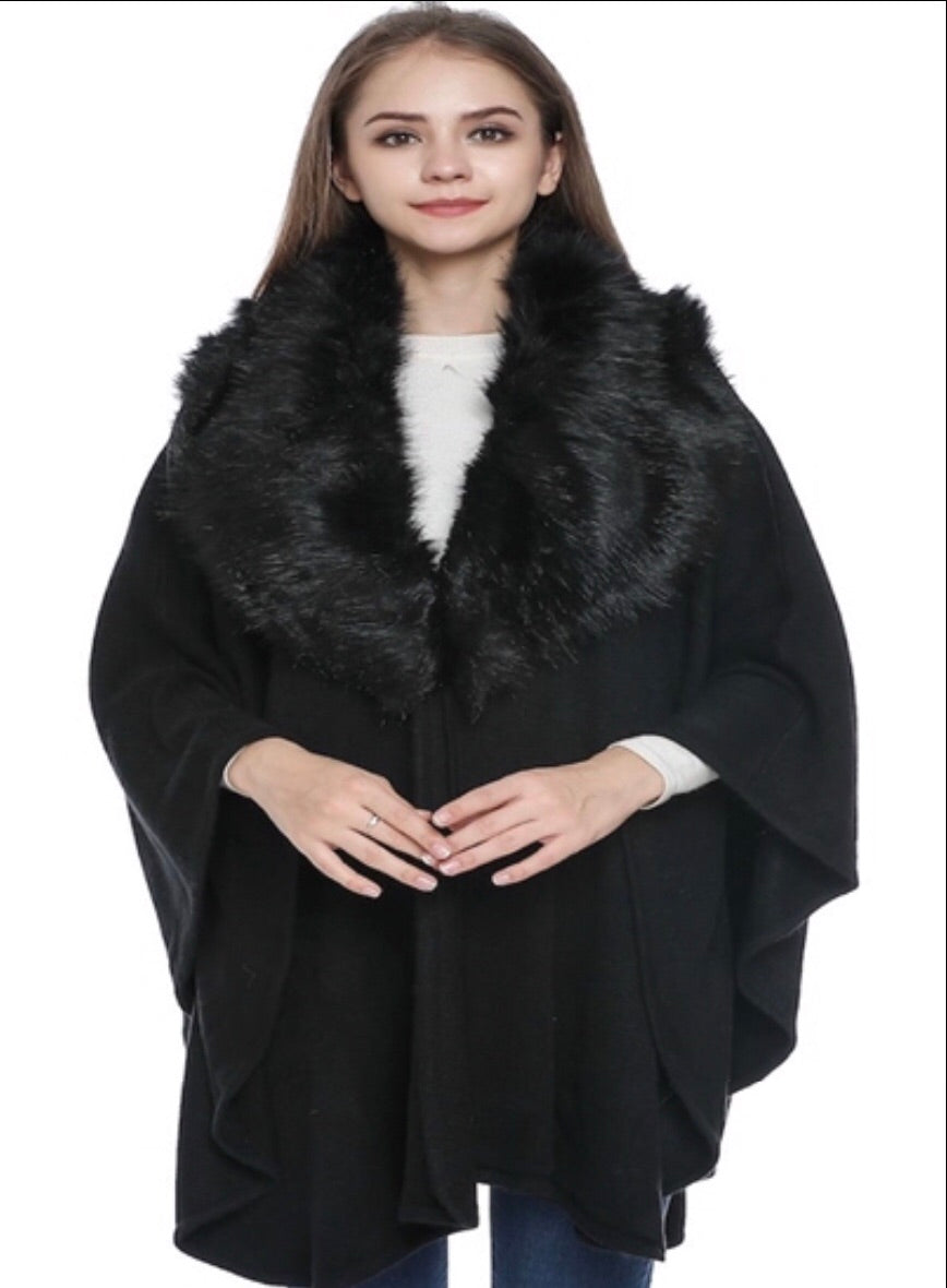 Black CB cape with faux fur neck