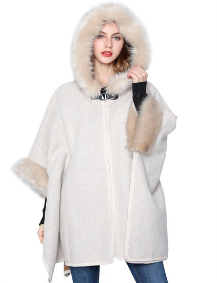 Cream Faux Fur Trimmed poncho with Hood
