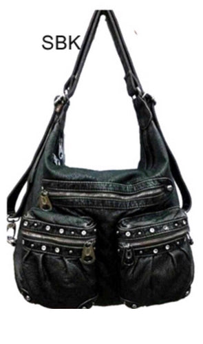 Black large bling 3 in 1 backpack purse