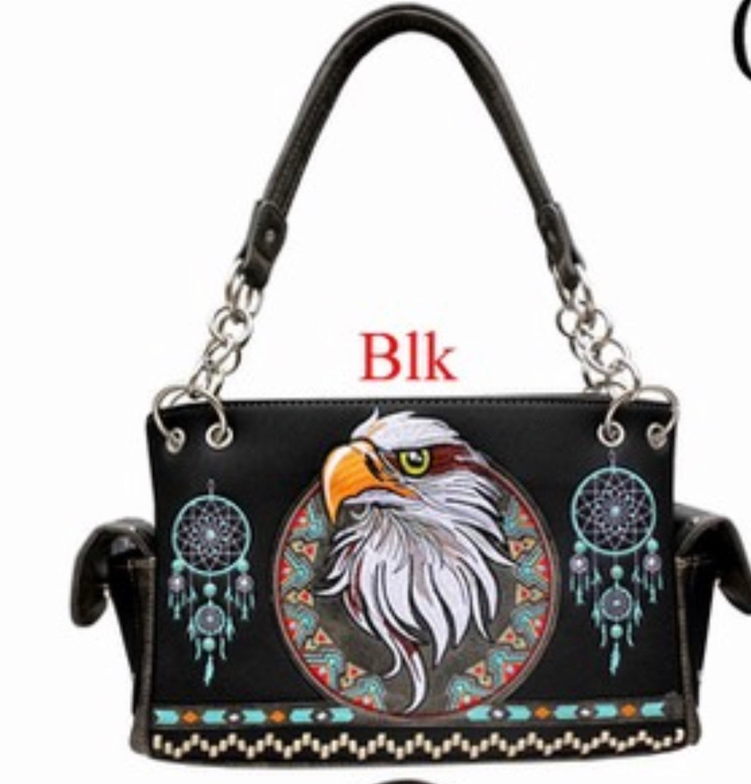 Black eagle western handbag with chain