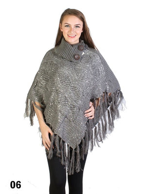 Grey Shawl Collar Bling Poncho