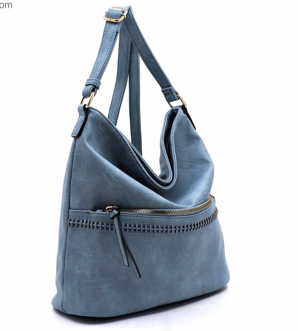 Large blue/grey hobo messenger with front zipper