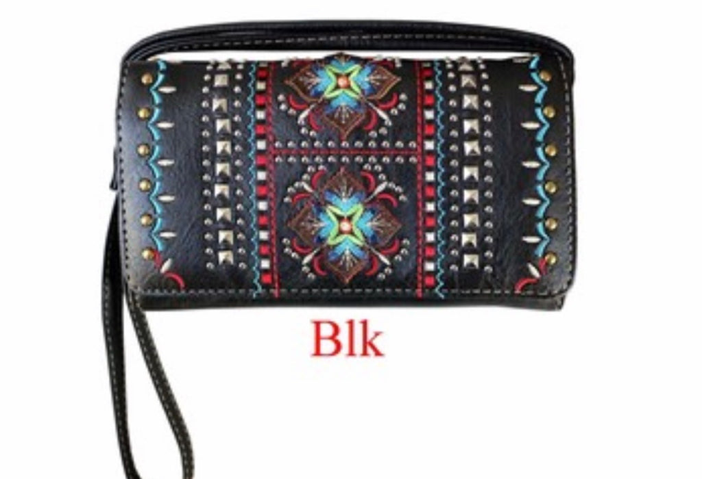 Black indigenous flower wallet with wristlet and crossbody strap
