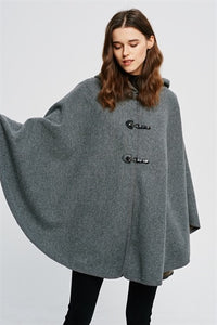 Grey hooded poncho with 3 snap closure