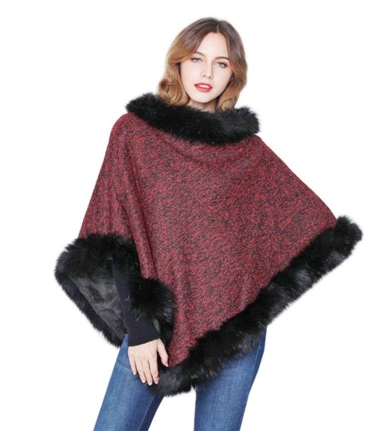 Burgundy poncho with black faux fur trim