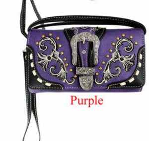 Purple wallet with buckle and crossbody strap