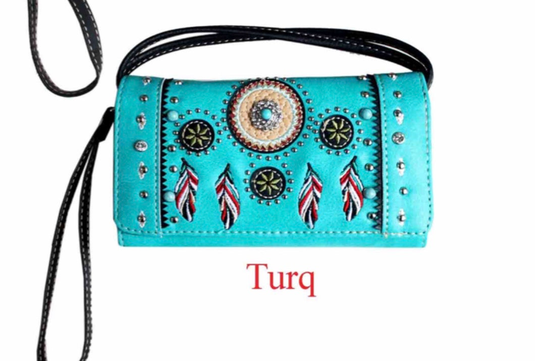 Turquoise feather wallet with turquoise stone