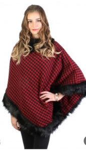 Red plaid poncho with black faux fur trim