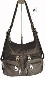 Pewter 6 zipper front 3 in 1 backpack purse