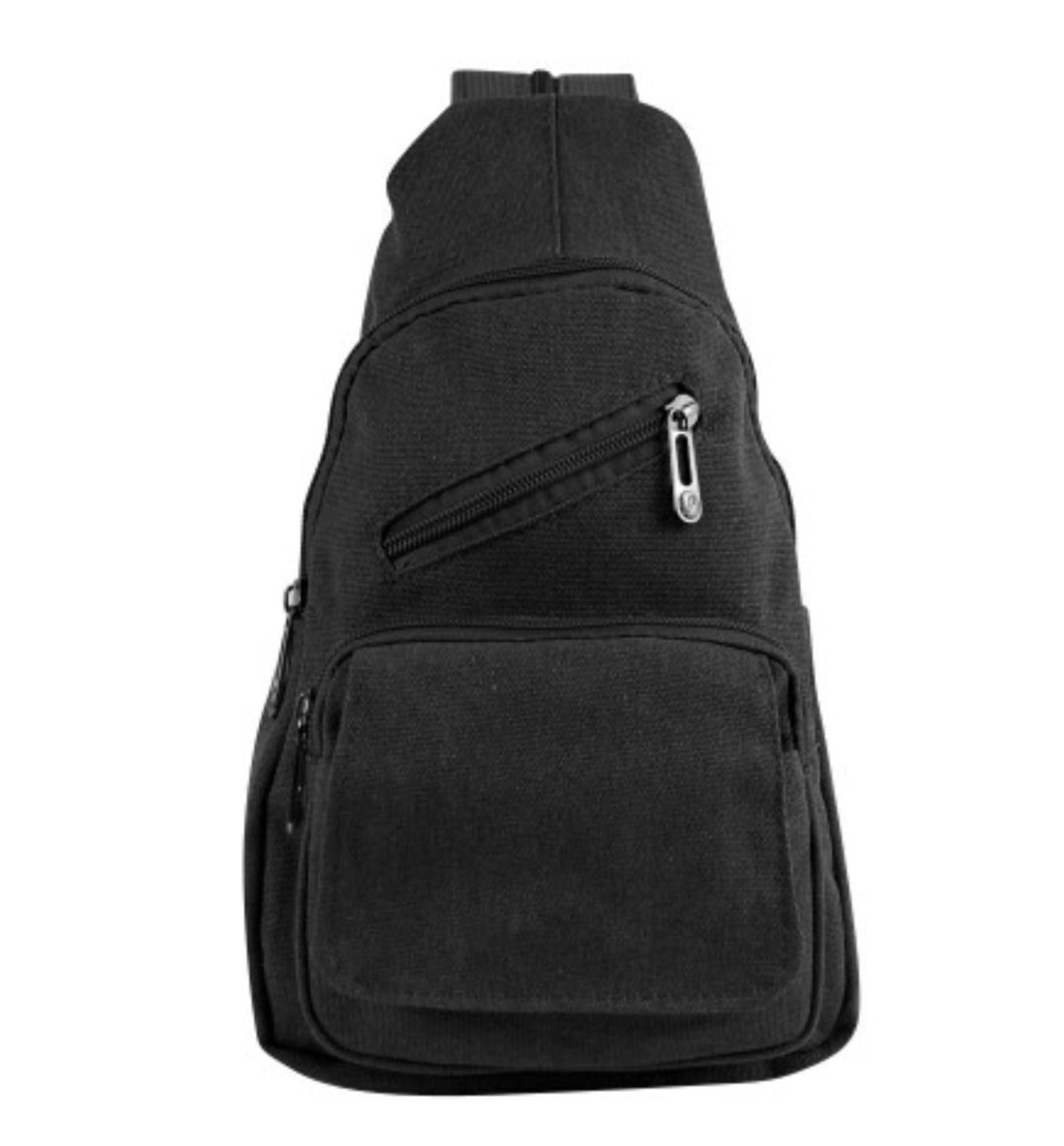 Black fabric mini backpack