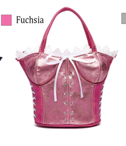 Pink corset evening purse with long strap
