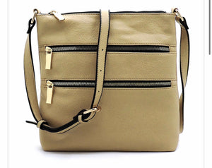 Beige messenger with 2 front zippers