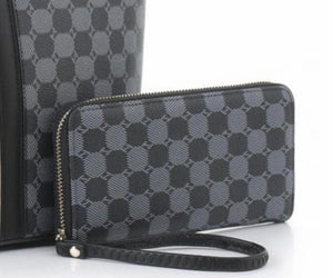 Black FW wallet with circle pattern