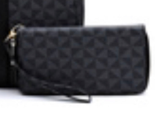 Black triangle wristlet wallet