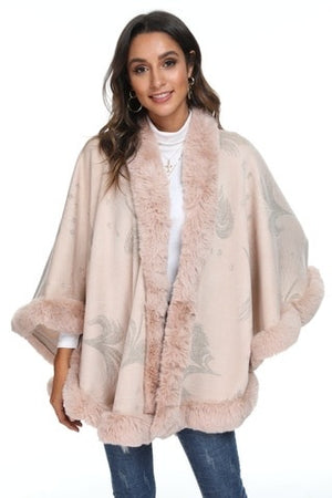 Pink peacock print cape