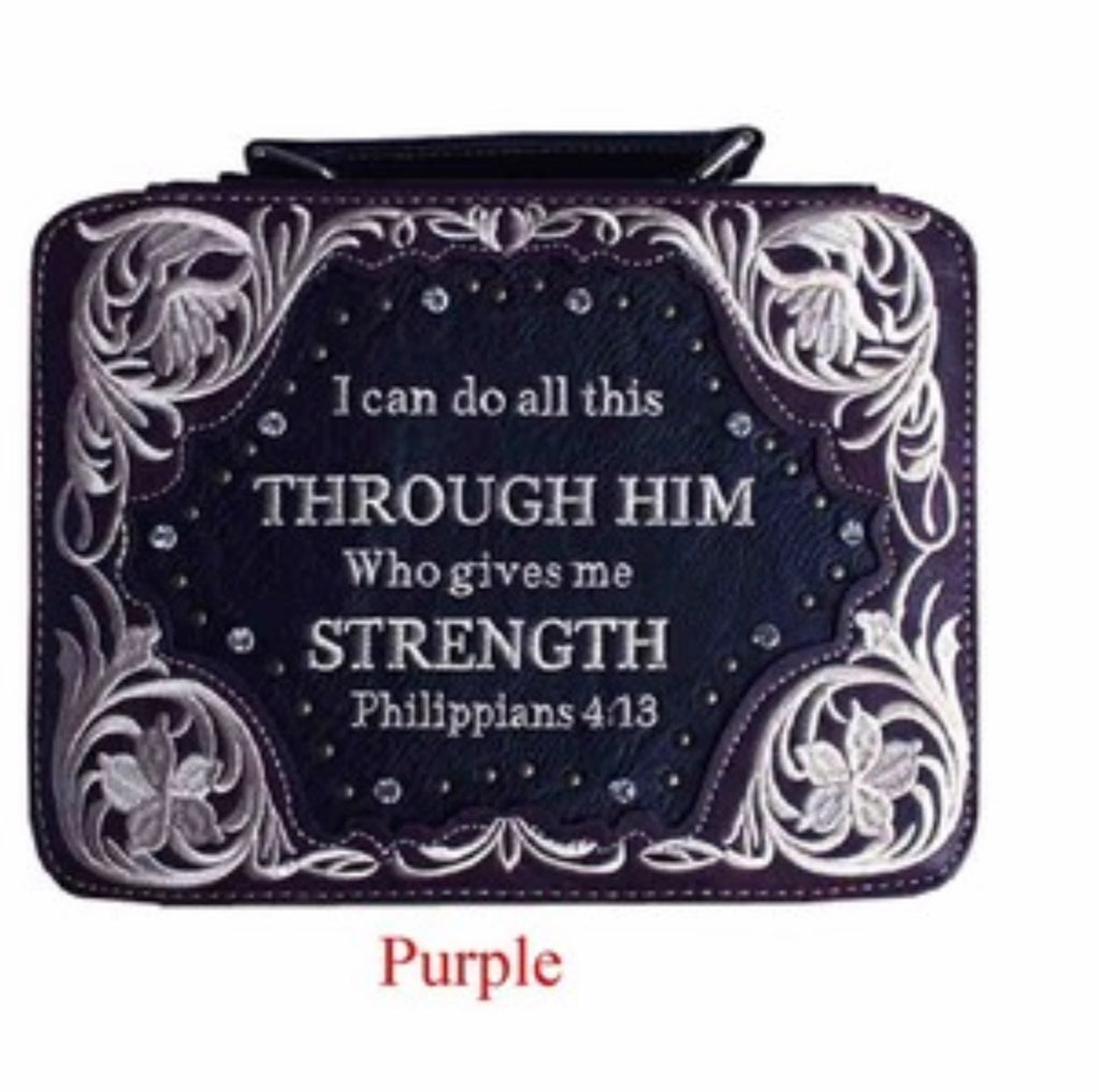 Purple bible cover Philippians 4:13