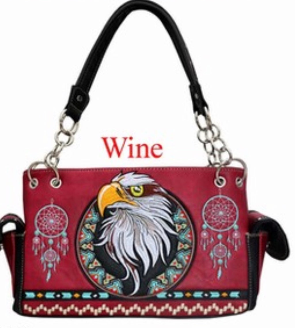 Red eagle western handbag with chain