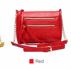 Red 2 zipper messenger with chain