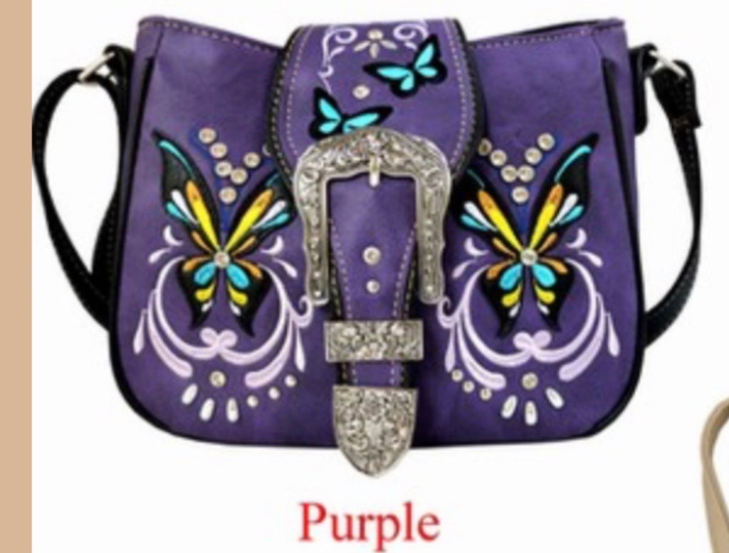 Purple butterfly crossbody with buckle