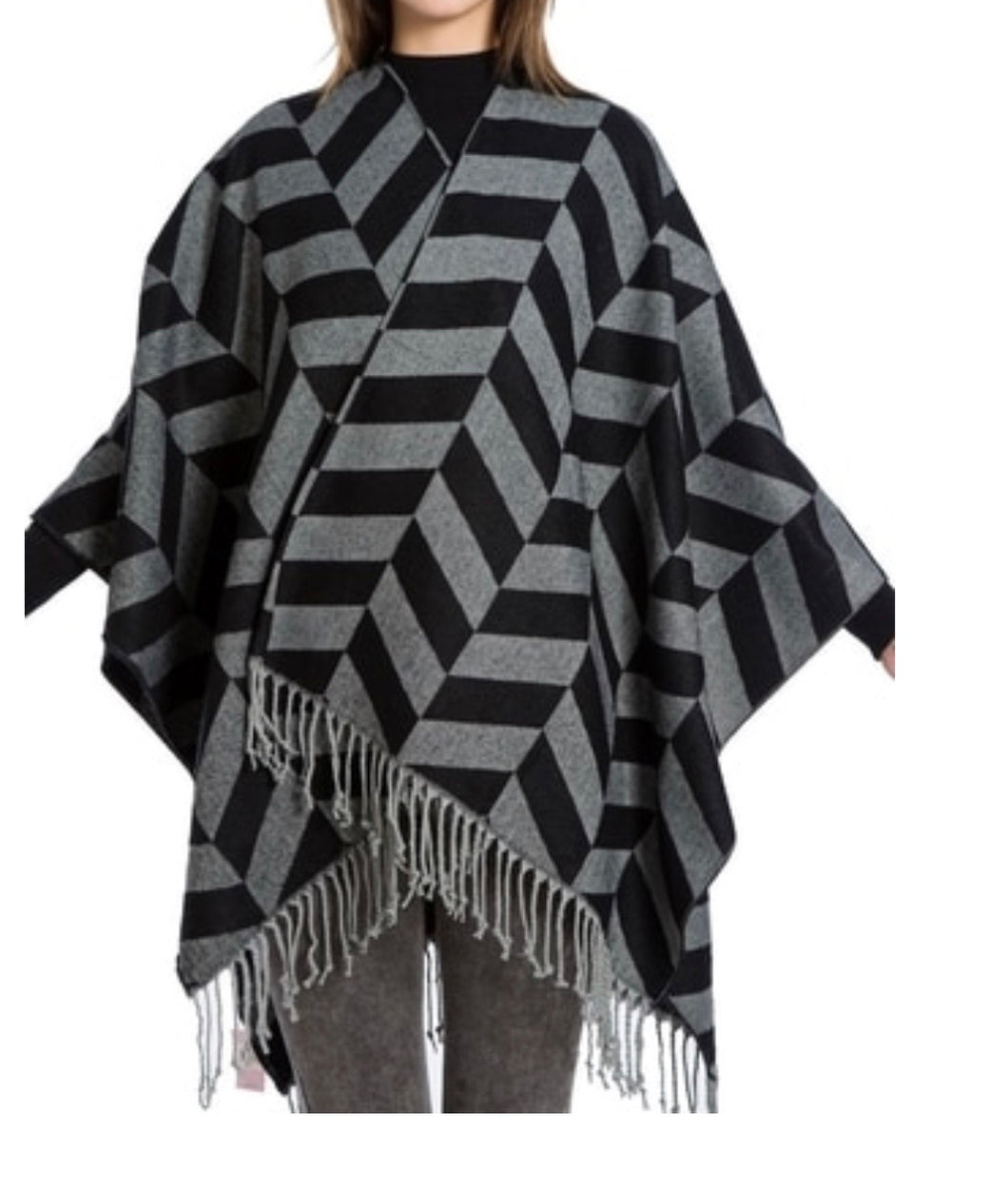 Black and grey blanket cape