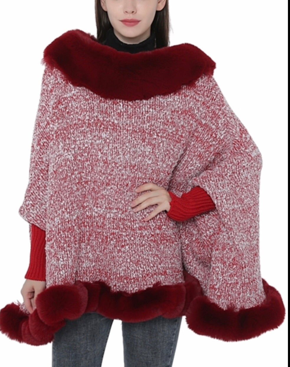 Red and white faux fur with armholes