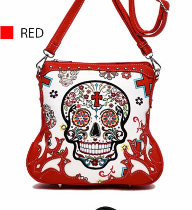 Red sugar skull messenger with cross
