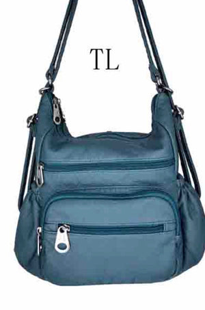 Teal 3 in 1 with zip front pouch and elastic pocket sides