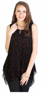 Black chiffon layered tank with red triangles
