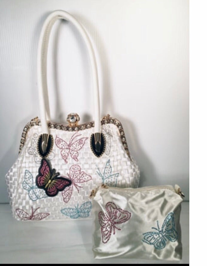 White Butterfly 2pc With Jewel Closure