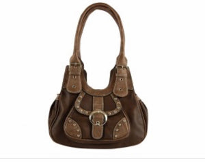 Brown Small Handbag With Copper Trim