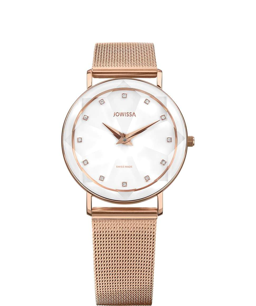 New Jowissa Facet Swiss Ladies Watch Rose/White - Junkdrawercoolfinds.com
