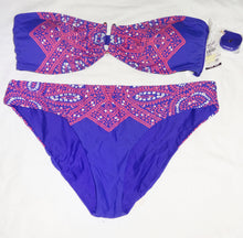Ella Moss Bikini, Molded Cups, Removable Strap + Bottoms, Blue Pink Size L FREE SHIP - Junkdrawercoolfinds.com