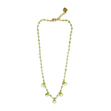 Peridot Gemstone & 14kt Vermeil Gold Droplet  Necklace, August Birthstone