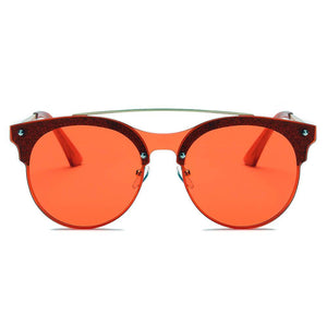 Round Circle Brow-Bar Tinted Lens 100% UV Sunglasses 5 colors - Junkdrawercoolfinds.com