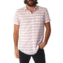 Men's Short Sleeve White W/ Double Red Stripe Linen Shirt, S-XXL