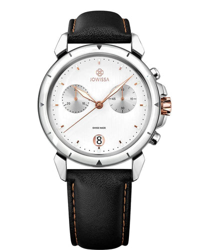 New Jowissa LeWy 6 Swiss Men's Watch Black Leather, Rose/White/Black - Junkdrawercoolfinds.com