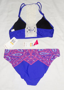 Ella Moss Bikini, Molded Cups + Reversible Bottoms, Blue Pink White, Size S - Junkdrawercoolfinds.com