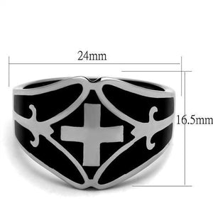 Men's Fashion Ring High Polished Stainless Steel & Jet Epoxy Sizes 8-13 - Junkdrawercoolfinds.com