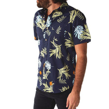 New Men's 100% Cotton Floral on Navy Button Down Shirt, S - 2XL