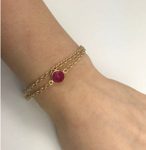 Ruby & 14ct Vermeil Gold Double Chain Bracelet, July Birthstone