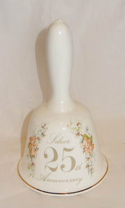 Vintage SILVER 25TH ANNIVERSARY Bone China Bell by Greenland, England - Junkdrawercoolfinds.com