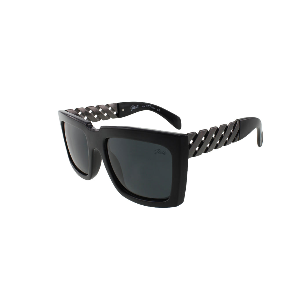 Jase New York Casero Metal Lattice Temple Sunglasses in Gunmetal