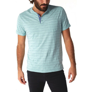 Men's Short Sleeve Patch Pocket Pinstripe Green Henley, S-XL