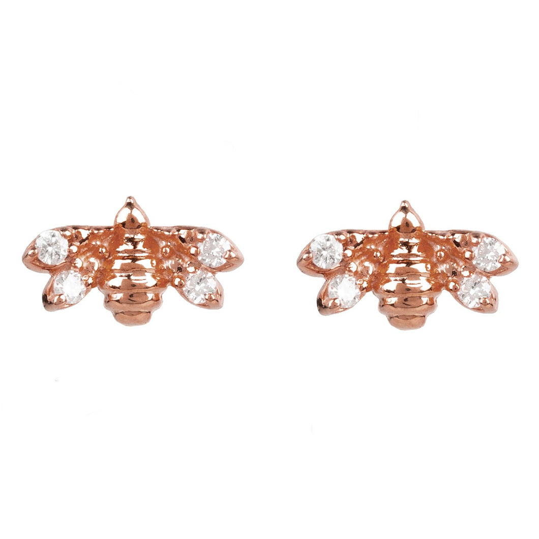 New Diamond Mini Bee Stud Earrings 22ct Rosegold