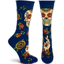 Unisex Navy Sugar Skull Sock, One Size